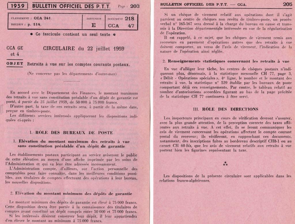 Cherche taxe de 30 c retrait à vue CCP Circ_d18