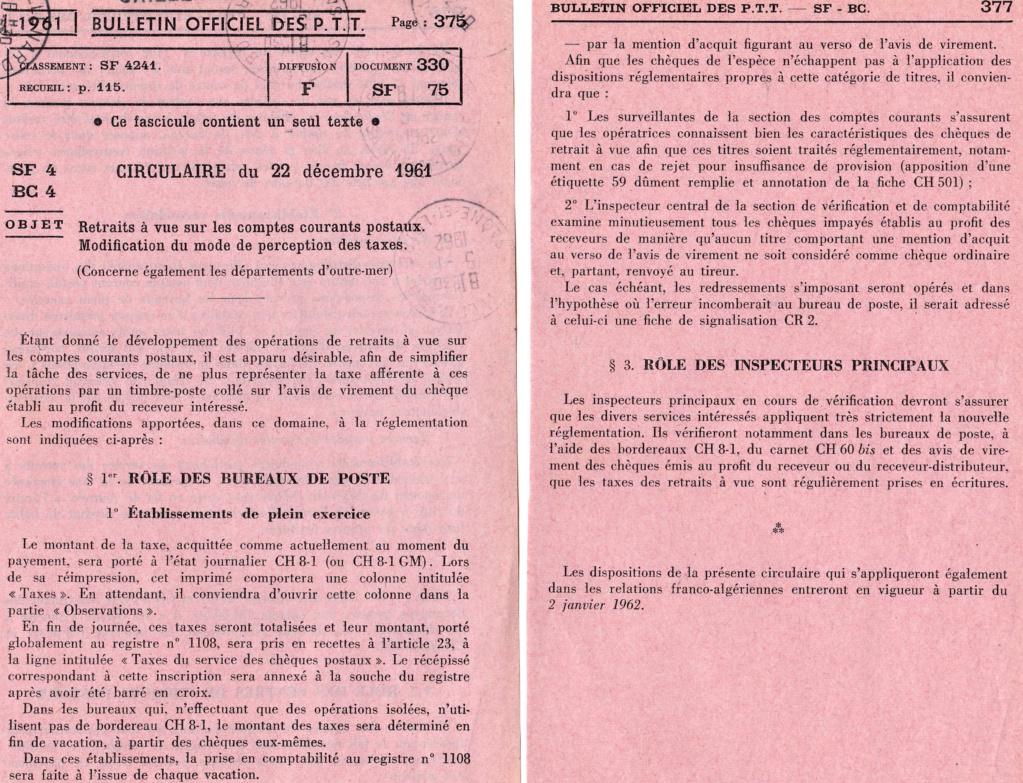 Cherche taxe de 30 c retrait à vue CCP Circ_d19