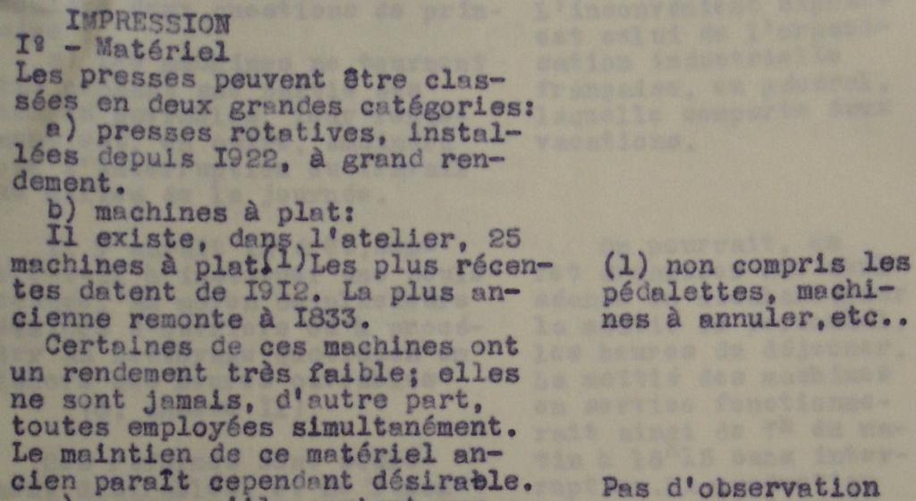 Nombre de presses à l'Atelier fin 1932 Extrai15