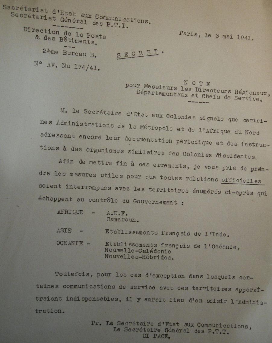 Saint Raphaël à Pointe Noire (Moyen Congo) le 22/04/1941 : problème de tarification  Note_311