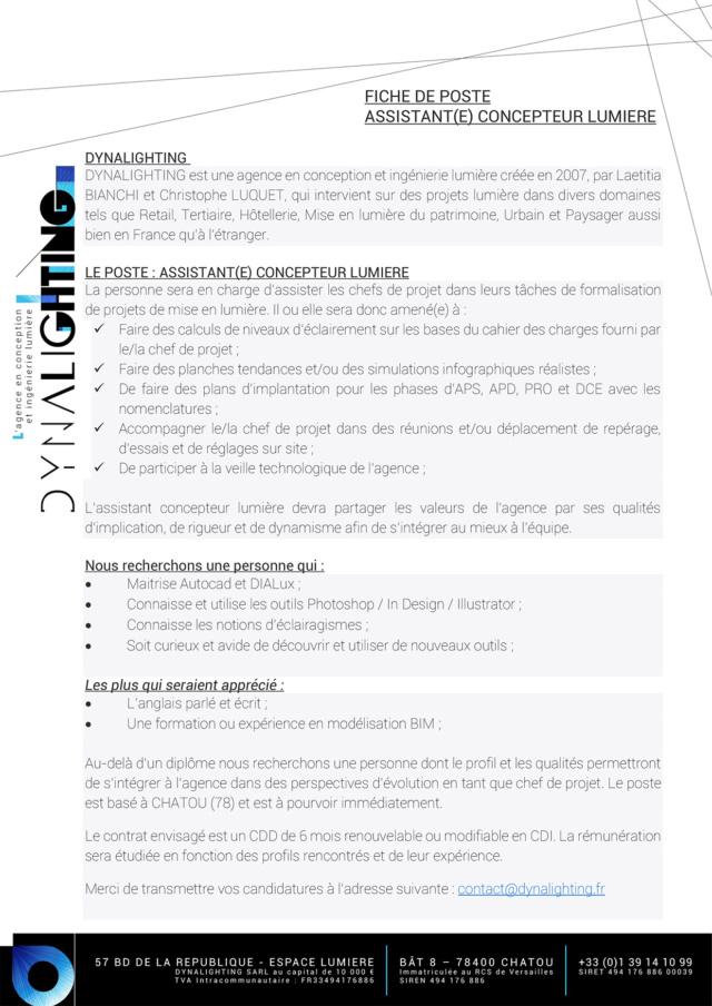 OFFRE D'EMPLOI : Assistant(e) Concepteur Lumière (Ile-de-France) Assist10
