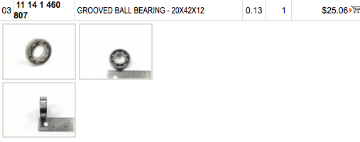 Bell housing alternator bearing Scree100