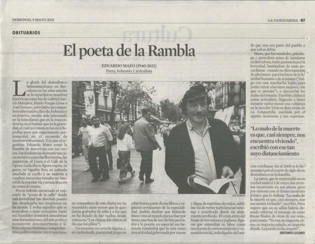 """""""Eduardo Mazo, el poeta de la Rambla"""", por Antonio Lozano (La Vanguardia, Obituarios, 09-05-2021 Eduard11"""