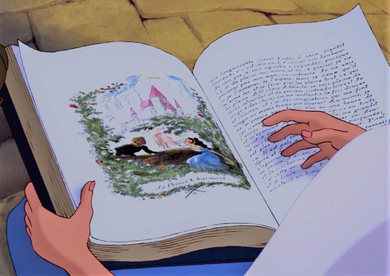 Mystère  de mon enfance : quel est le livre que lit Belle sur la fontaine dans La Belle et la Bête ? Vlcsna13