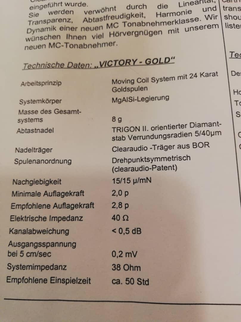 Clearaudio Victory Low Output 24k Gold Cartridge Whatsa37