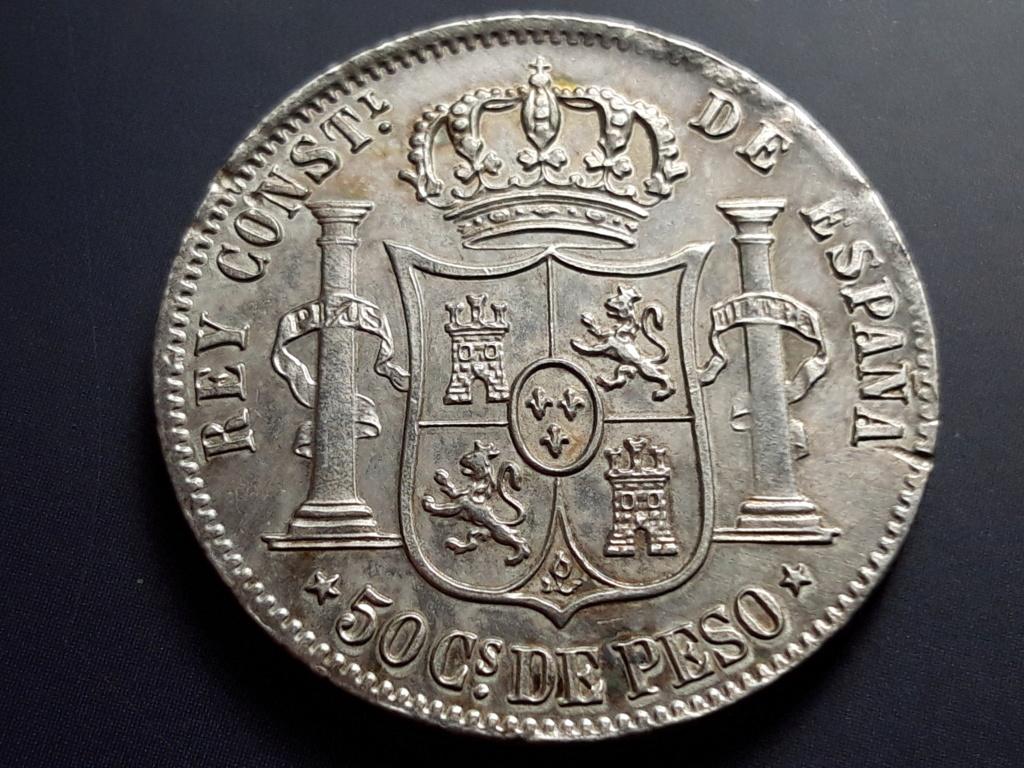 50 centavos de peso 1885. Alfonso XII. Filipinas Revers10