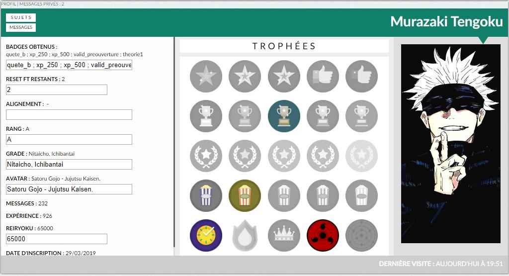 Badges sur Profil en ModernBB Screen47