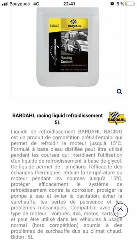 Liquide de refroidissement compétition Bardahl 20190811