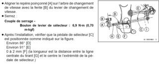 Course sélecteur de vitesse réglagle Szolec10