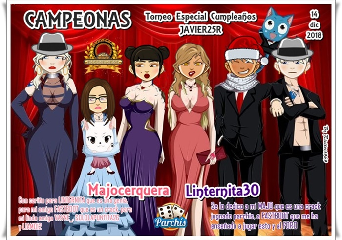 Ganadores Torneo Parchis Especial Cumpleaños Javier25r 14/12/2018 Campeo29