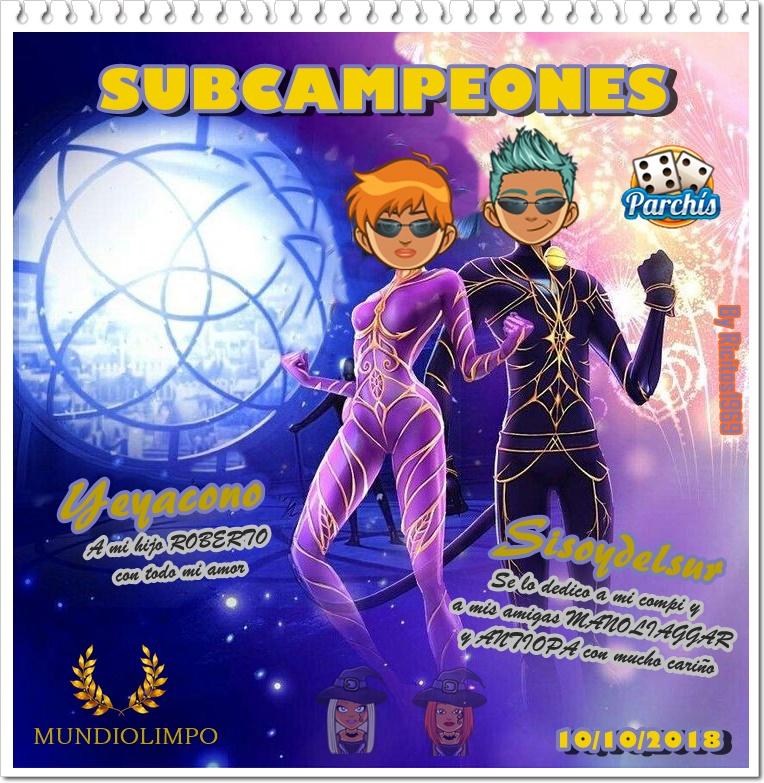 Ganadores de Parchís 10/10/2018 Subcam10