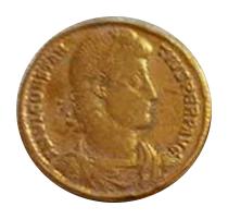 Sólido de Constancio II. GLORIA – REI – PVBLICAE. Roma y Constantinopolis entronizadas de frente. Antioch,  5a10