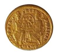 Sólido de Constancio II. GLORIA – REI – PVBLICAE. Roma y Constantinopolis entronizadas de frente. Antioch,  5b10