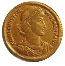 Sólido de Constancio II. GLORIA – REI – PVBLICAE. Roma y Constantinopolis entronizadas de frente. Antioch,  9a10