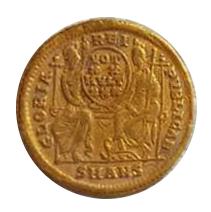 Sólido de Constancio II. GLORIA – REI – PVBLICAE. Roma y Constantinopolis entronizadas de frente. Antioch,  9b10