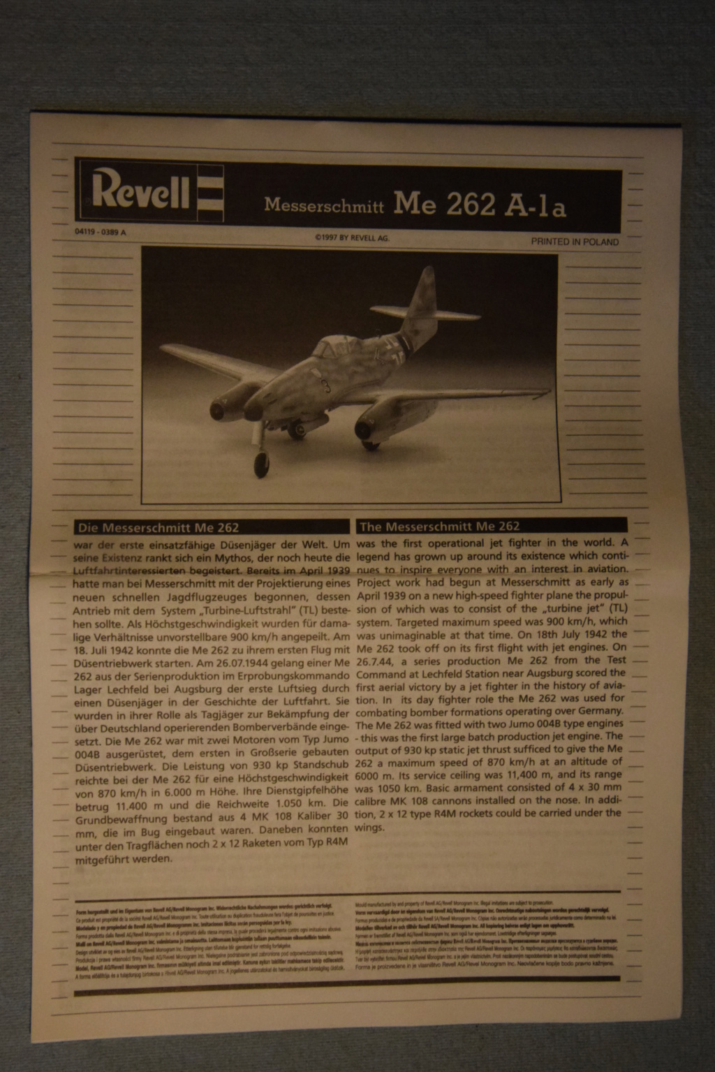 Revell - 1/72- Me 262 A-1a 00211