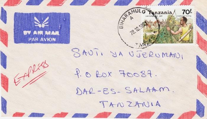 Tansania - Belege mit Briefmarken 1365_210