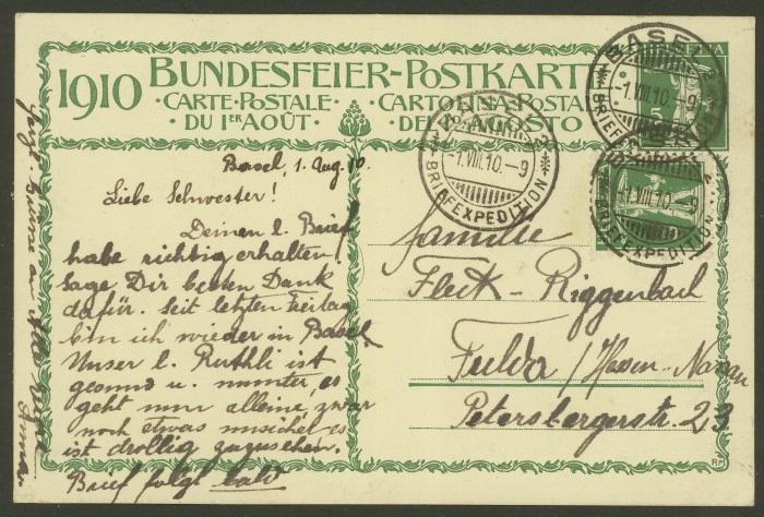 Bundesfeier-Ganzsachenpostkarten - Zumstein BuP 1910_o10