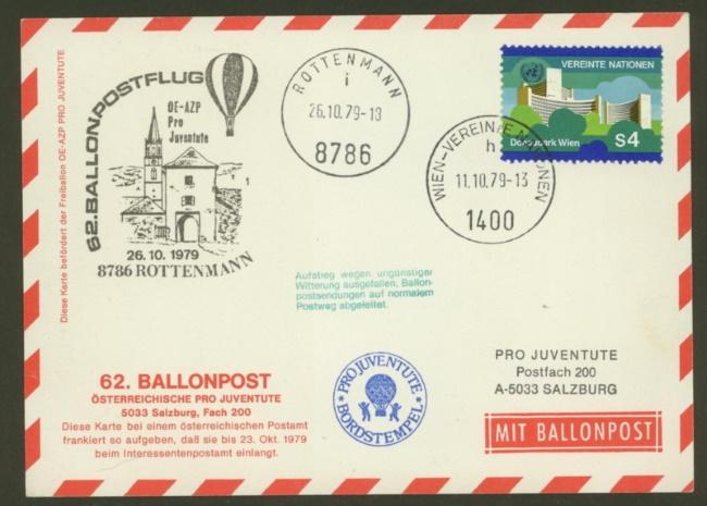 Ballonpost aus Österreich mit UNO-Frankatur 62_p_112
