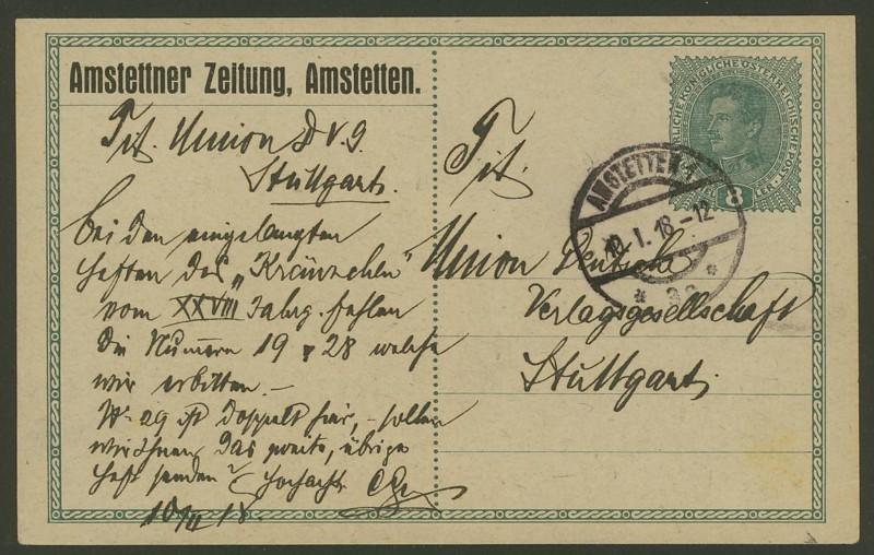 Österreich: amtliche Ganzsachenpostkarten mit privaten Zudrucken Ank_p210