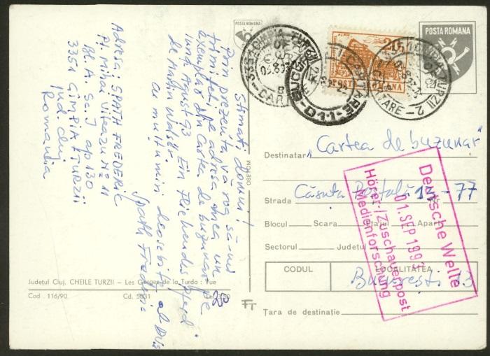 Rumänische Postkarte Code_110