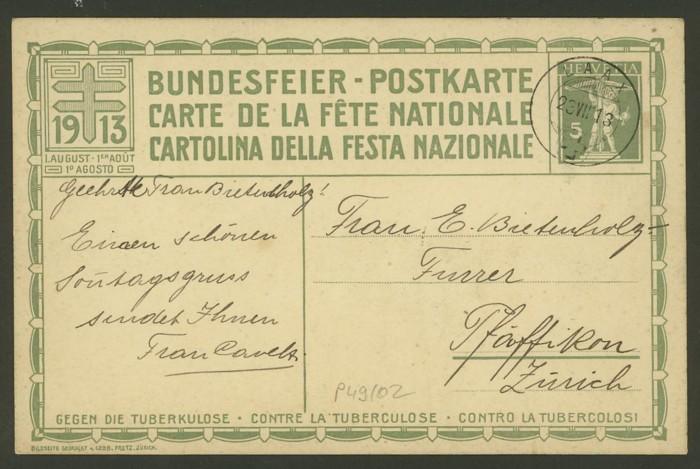Bundesfeier-Ganzsachenpostkarten - Zumstein BuP Mi_p_410