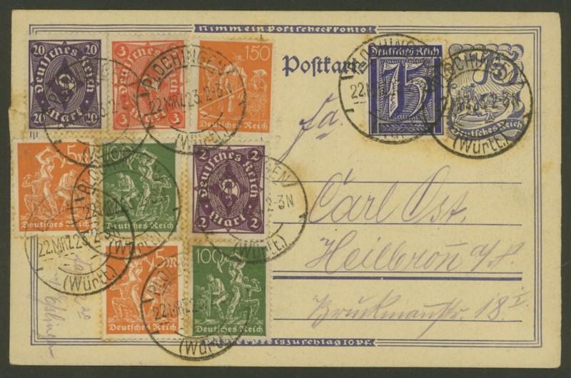 Deutsches Reich: Ganzsachen-Postkarten 1918 bis 1923 P_146_10