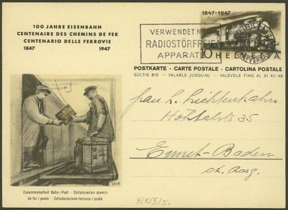 """Sonderausgabe  """"100 Jahre Eisenbahn"""" vom 9.8.1947 P_212_14"""