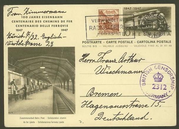 """Sonderausgabe  """"100 Jahre Eisenbahn"""" vom 9.8.1947 P_212_16"""