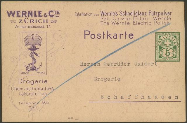 Private Ganzsachenpostkarten - Wertstempel Kreuz und Wertziffer Pp_2_w11