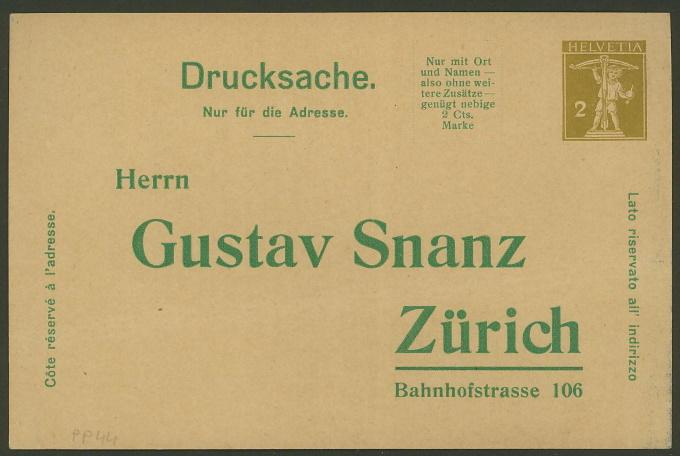 Private Ganzsachenpostkarten - Wertstempel Tellknabe und Helvetia (Ausgabe 1909) Pp_44_11
