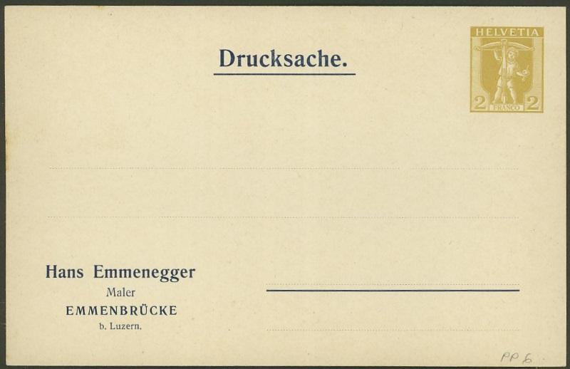 Private Ganzsachenpostkarten - Wertstempel Tellknabe und Helvetia (Ausgabe 1909) Pp_6_e10