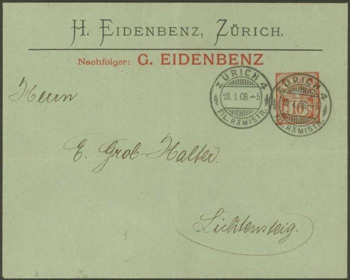 Private Ganzsachenumschläge - Wertstempel Kreuz und Wertziffer Pu_3_e11