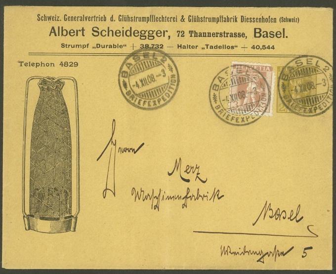Private Ganzsachenumschläge - Wertstempel Tellknabe/Helvetia (Ausgabe 1907) Pu_6_s10