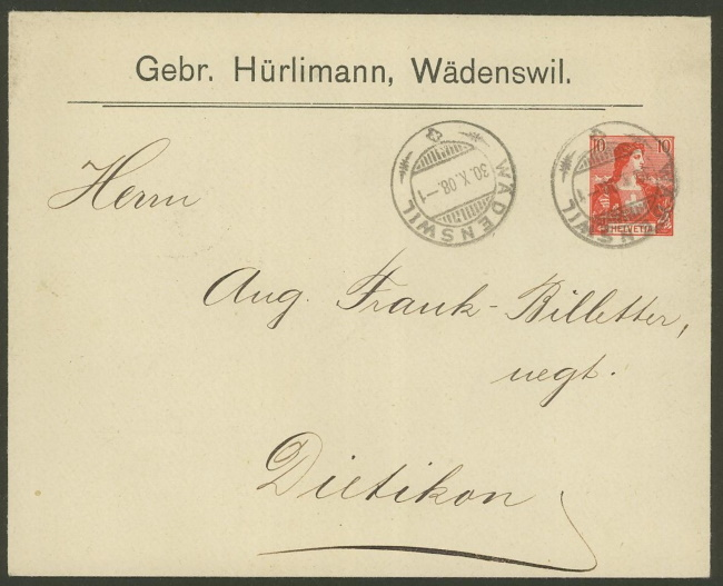 Private Ganzsachenumschläge - Wertstempel Tellknabe/Helvetia (Ausgabe 1907) Pu_8_h11