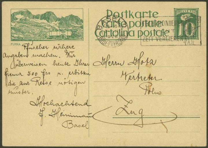 Kraftfahrzeuge auf Bildpostkarten der Schweiz Zu_10711