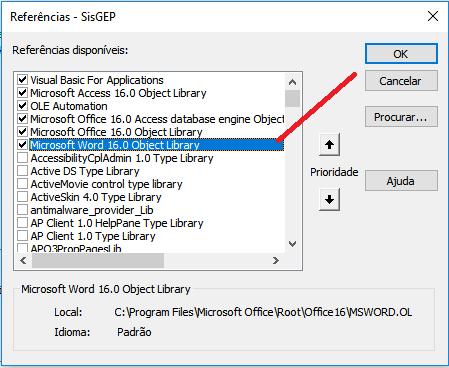Identificar referência de acordo com a versão do Access Refere10