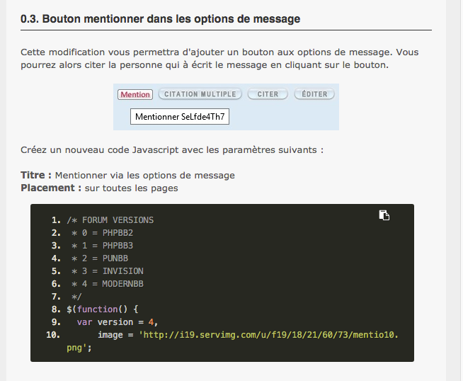 Problème tag (Bouton mention) Code10