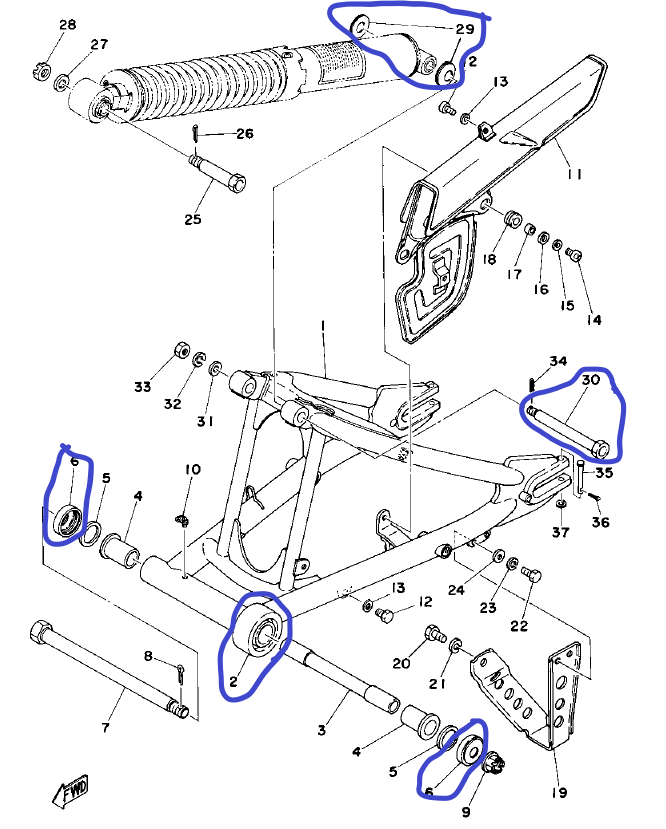 Joints de axe de axe d'amortisseur de 250 1977 Dt250_11