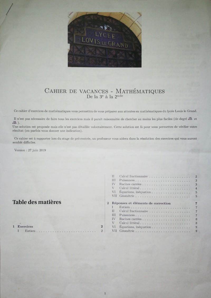Cahier de vacances mathématiques Seconde 20190710