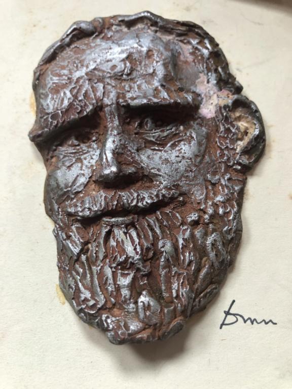 Set of 4 clay (?) sculpted Irish author heads Dfa32210