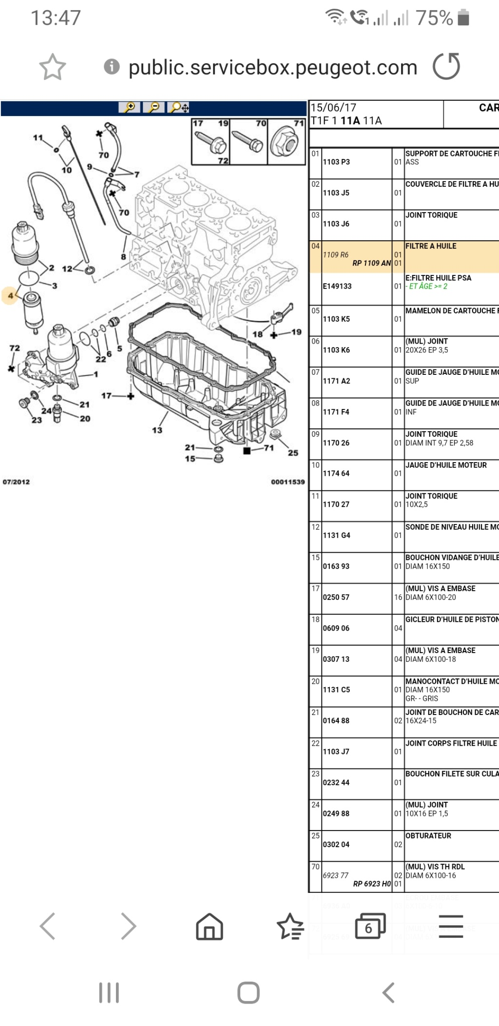 Quelle référence pour le filtre d'huile et joint bouchon du carter Scree210