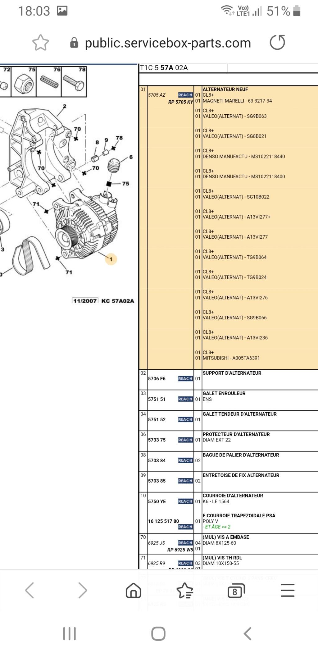 Quel alternateur et kit courroie accessoire sur ma 206 Scree292