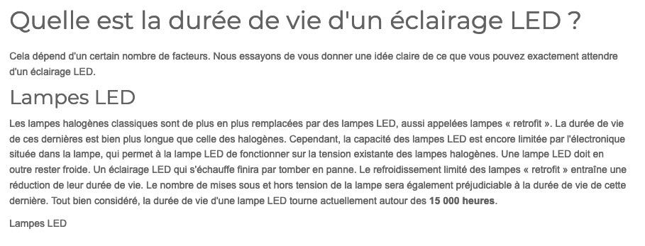 Durée de vie des tubes LED Capt1951