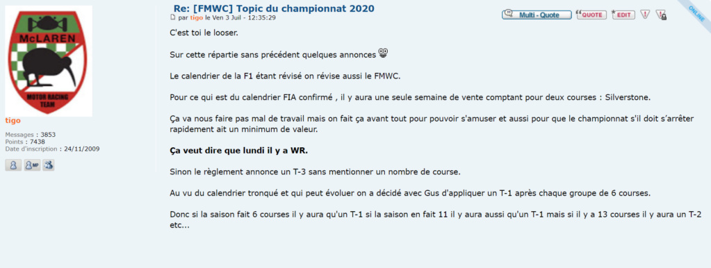 [FMWC] Réglement 2020 Tigo110