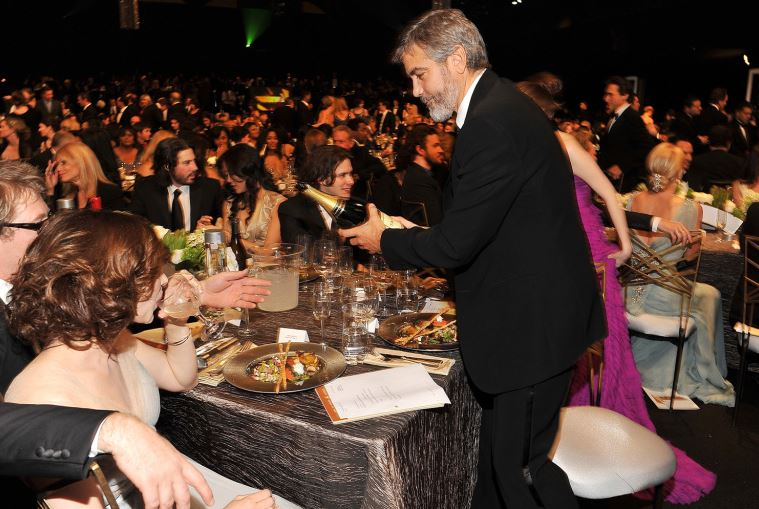 Throwback to the 2010 Screen Actors Guild Awards - George Clooney popping champagne Cloone10