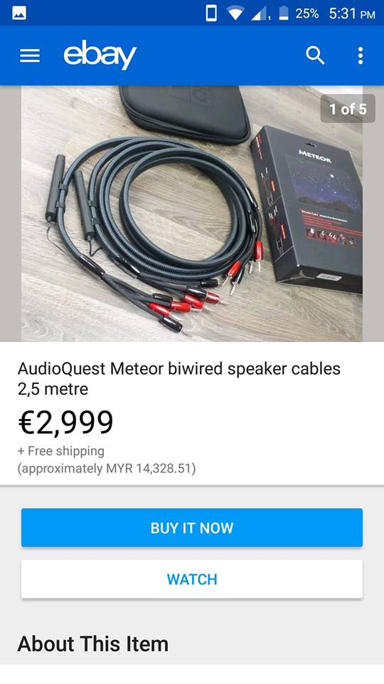 (Sold) - Audioquest Meteor speaker cable USA 131