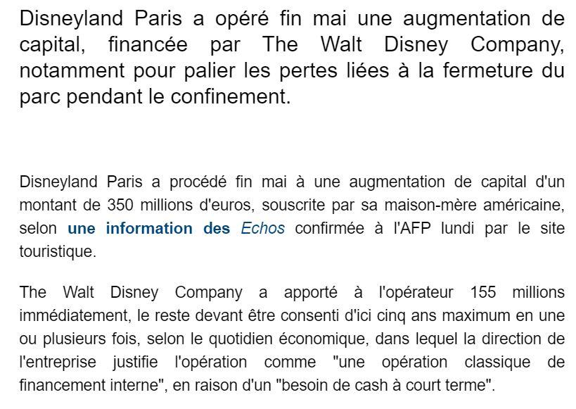 Renflouement de Disneyland Paris par TWDC à hauteur de 350 millions d'euros 210