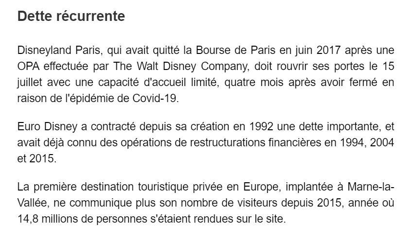 Renflouement de Disneyland Paris par TWDC à hauteur de 350 millions d'euros 310