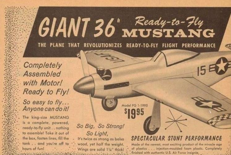 Sterling 36-inch RTF CL P-51 Mustang w/Cox .15 Sportsman Mansep10